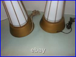 Vtg Pair Atomic 50s Matching Caged Table Lamp Bases Mid Century Modern