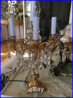 Vtg Pair Candelabra Lamps Crystal Prisms Table Chandeliers French Italian Style