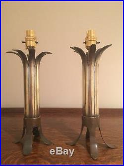 WWII Brass Trench Art Table Lamps Unique Artillery Shell Table Lamps PAIR H11.5