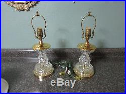 Waterford Crystal Pair Of 16 Inch Tall Dresser Boudoir Table Lamps With Shades