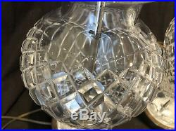Waterford Crystal Tall Table Lamp Pair Comeragh Brass 28 H Vintage